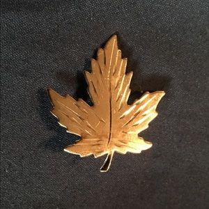 Jewelry - HUGE Vintage Signed Silver Etched Leaf Brooch